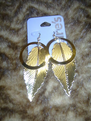 Large Gold Tone Feather Earrings Dangle Fashion