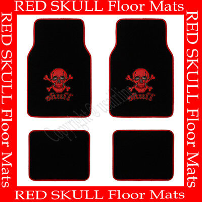 4 PCS RED SKULL FLOOR MATS FOR CAR / SUV / TRUCK  BEST QUALITY