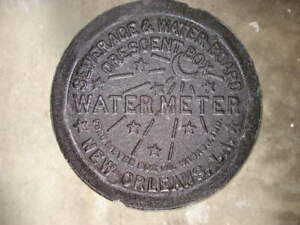 New-Orleans-NOLA-Louisiana-Cast-Iron-Water-Meter-Box-Cover-12-Crescent-Genuine