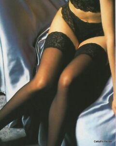 Details about Lace Top Hold up Stockings, Black,Silicon Holdup strip