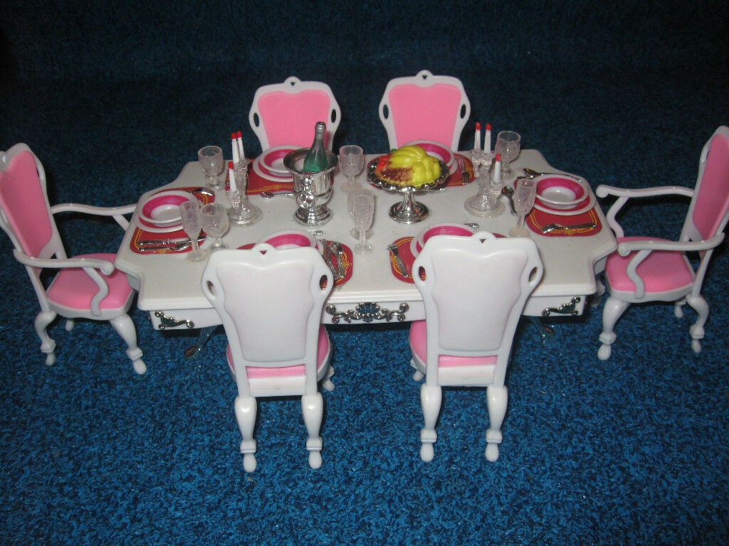 Gloria Grand Dining Room Play Set Barbie Size on PopScreen