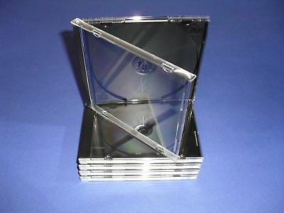 10 Standard Cd/dvd Jewel Cases W/black Trays-new