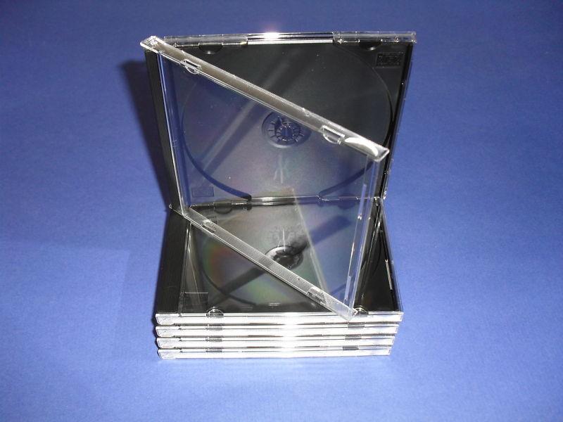 25 Standard Cd/dvd Jewel Cases W/black Trays-new