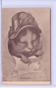 VINTAGE-ANGRY-BIG-HEAD-CAT-KITTEN-POSTCARD