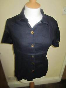 JOULES-Powderham-Navy-Linen-Blouse-Shirt-FreeUKP-P-Sz-10