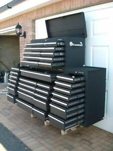24 us pro tools black tool chest box snap up 2 side cabinet 75 finance option ebay. Black Bedroom Furniture Sets. Home Design Ideas