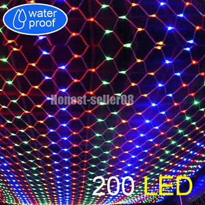 Multi-Color-2M-x-3M-200-LED-Net-Web-Fairy-Lights-Christmas-Wedding-Party-Decor-S