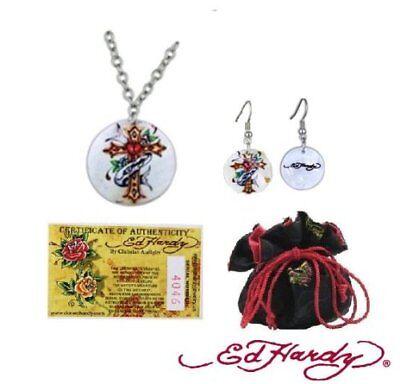 Ed Hardy Cross Shell Necklace Earrings Set