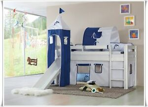 spielbett hochbett mit rutsche turm kiefer weiss se ebay. Black Bedroom Furniture Sets. Home Design Ideas