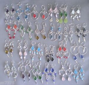 Wholesale 20 pairs peruvian glass earrings dangle lot alpaca silver