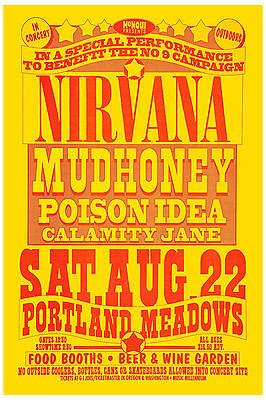 Grunge: Nirvana & Mudhoney at  Portland  Concert Poster 1992