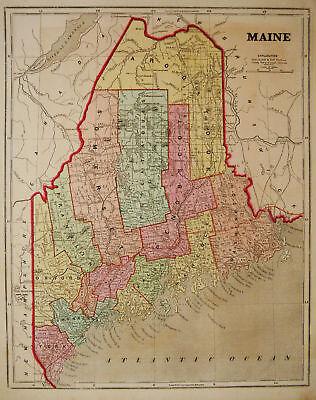 1856 Genuine Antique map of Maine. C. Morse