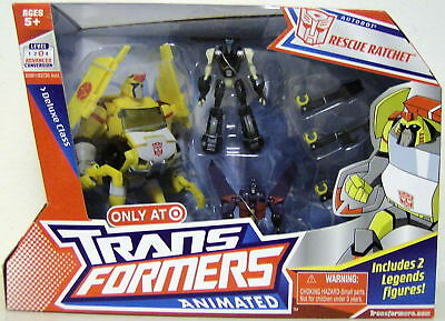 Hasbro Year 2008 Exclusive Transformers Animated Series 3 Pack Set Robot Action Figure - Deluxe Class (6 Inch Tall) Autobot RESCUE RATCHET with Tools Accessory Plus Legend Class (3 Inch Tall) Autobot PROWL and Decepticon STARSCREAM - 00653569353744 Toys