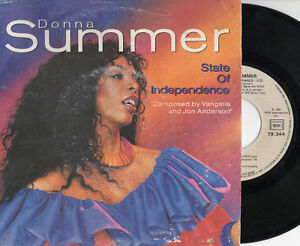 DONNA-SUMMER-disco-45-giri-MADE-in-FRANCE-State-of-indipendence-STAMPA-FRANCESE
