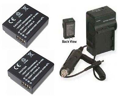 Two 2 Batteries + Charger For Panasonic Dmcgf3t Dmc-gf3w Dmc-gf3cr Dmc-gf3ck