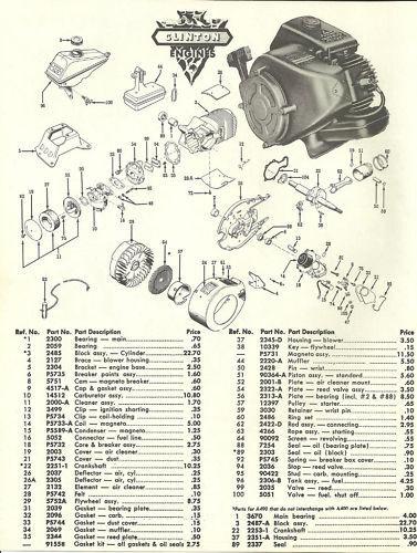 Vintage 1960's Clinton A400 Engine Parts & Price List