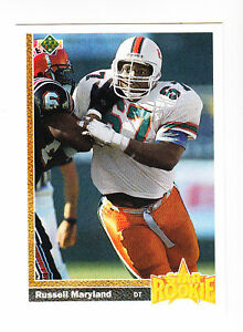 1991 UPPER DECK RC # 5 RUSSELL MARYLAND DT COWBOYS