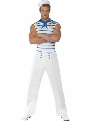 Mens French Sailor Fancy Dress Costume All Sizes