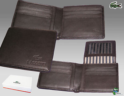 Authentic Lacoste Leather Wallet City Classic 12 Brown Small Billfold