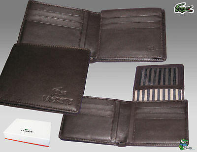Authentic Lacoste Leather Wallet City Classic 11 Brown Large Billfold