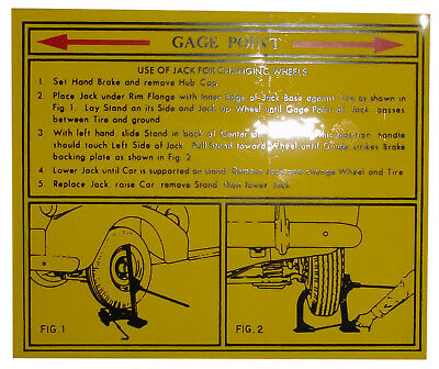 1938 1939 1940 1941 Buick Jack Instructions Decal
