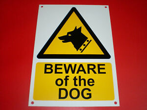 BEWARE-OF-THE-DOG-A5-148-x-210-PRE-DRILLED-plastic-sign-FREE-POST-gate-security
