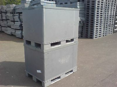 5 x PLASTIC STORAGE PALLET BOX CONTAINERS 500KG CAPACITY SET OF 5 - GRADE B