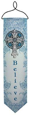 Believe Blue Cross Mini Banner W/metal Topper