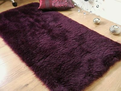 Plum Aubergine purple faux fur sheepskin Oblong rug 70x140cm
