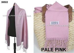 PALE-PINK-Soft-90-Cashmere-Wool-10-Silk-Blend-Pashmina-Shawl-Wrap-Scarf-SALE