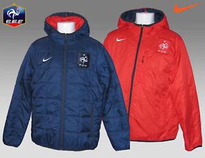 Nike-Hombre-Francia-Futbol-Reversible-Banco-abrigo-chaqueta-azul-marino-Rojo-M