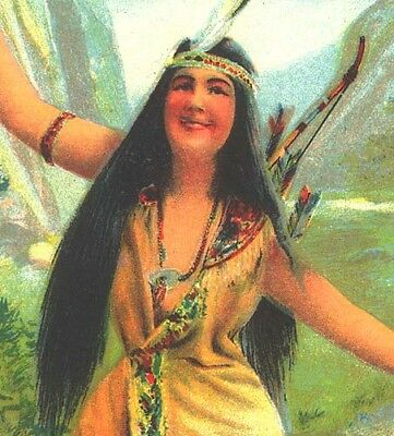 1905 LITHOGRAPH - NATIVE AMERICAN GIRL, BOW & ARROWS