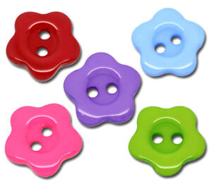 100 Mixed Flower Charms 2 Hole Resin Sewing Button 14mm