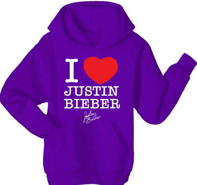 I Love Justin Bieber Hoodie Top - All Sizes and Colours
