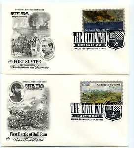 4522-23 The Civil War: 1861 two Artcraft pictorial FDCs