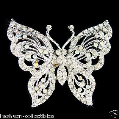 w Swarovski Crystal Butterfly Bridal Wedding Jewelry Sash Bouquet Pin Brooch New