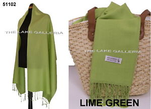 LIME-GREEN-Soft-90-Cashmere-Wool-10-Silk-Blend-Pashmina-Shawl-Wrap-Scarf-SALE