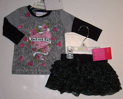 Amy Coe Rock And Roll Heart Tee & Glitter Skirt 3-6
