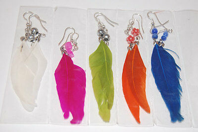 30 PAIRS FEATHER EARRINGS HANDMADE COLORFUL WHOLESALE FASHION PERUVIAN JEWELRY