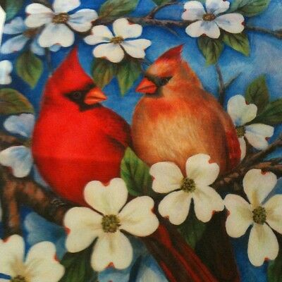 12.5x18  AUTUMN SPRING BIRD BATH CARDINAL  SMALL GARDEN  FLAG