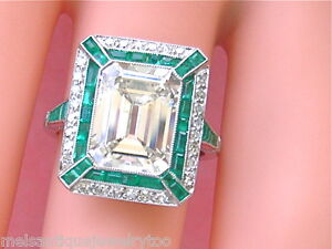 ESTATE-ART-DECO-4-47-ct-EMERALD-CUT-CENTER-DIAMOND-1-ctw-EMERALD-PLATINUM-RING