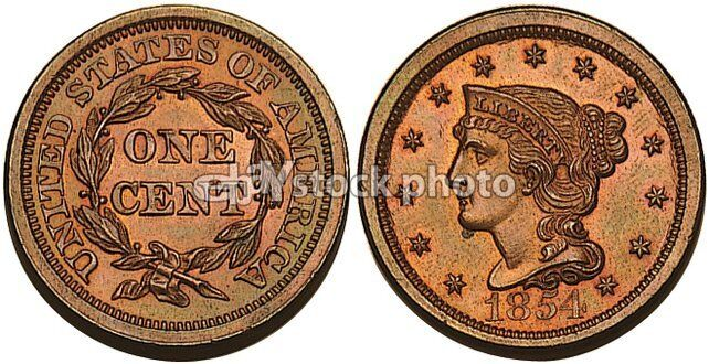 1854, Braided Hair Cent