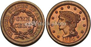 1854, Braided Hair Cent