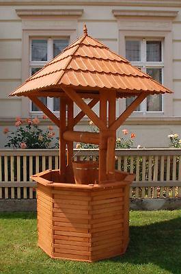 XXXL Zierbrunnen Holzbrunnen Brunnen 2,40m Höhe, Garten