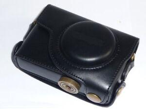 Canon-Powershot-S95-Leather-Camera-Case-bag-w-Strap-BLK