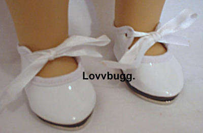 """Lovvbugg White Tap Dance Shoes for 18"""" American Girl or Bitty Baby Doll Clothes"""