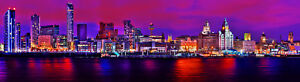 Liverpool Skyline Canvas Print Mersey River Waterfront at night LIMITED EDITION