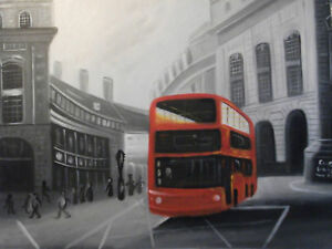 london-street-oil-painting-canvas-black-white-cityscape-red-bus-modern-original