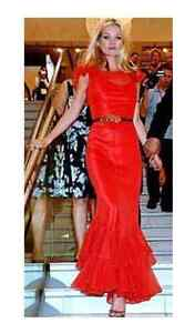 KATE MOSS TOPSHOP RED RUFFLE MAXI COCKTAIL PARTY DRESS LARGE 16 12 44 RARE! NEW