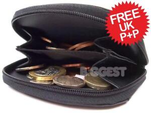 Handy Zipped Soft Black Leather Coin Purse Front Pocket